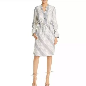 Donna Karan Blue Striped Long sleeve shirt dress